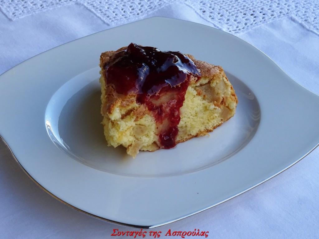 Κέικ με μήλα και κόκκινη μαρμελάδα (1)