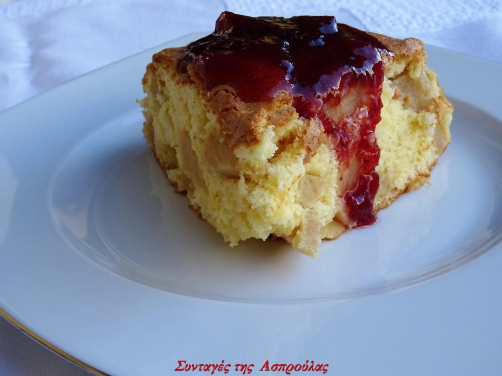 Κέικ με μήλα και κόκκινη μαρμελάδα (4)